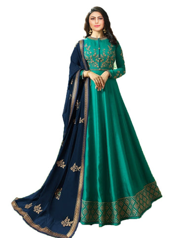 Designer Turquoise Color Georgette Embroidered Anarkali Suit