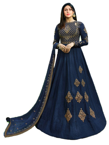 Designer Blue Color Georgette Embroidered Anarkali Suit