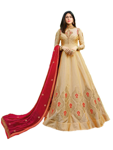 Designer Beige Color Georgette Embroidered Anarkali Suit