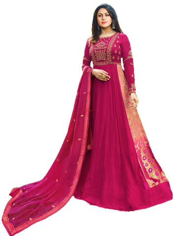 Designer Pink Color Georgette Embroidered Anarkali Suit