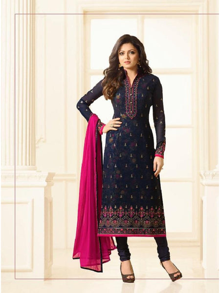 Designer Blue Embroidered Digital Printed Long Straight Cut Suit