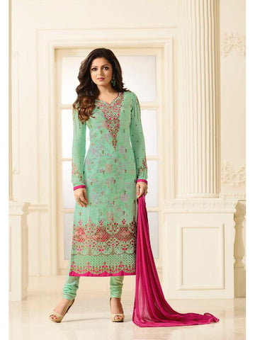 Designer Sea Green Color Embroidered Long Straight Cut Suit