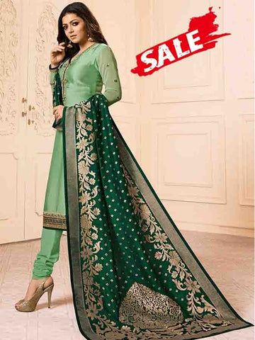 Designer Liril Pista Embroidered Long Straight Suit With Heavy Dupatta