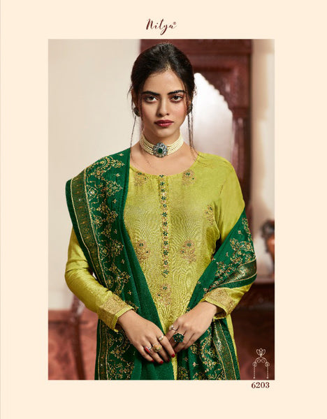 Green Dola Meenakari jacquard Khatli Worked Straight Cut Suit