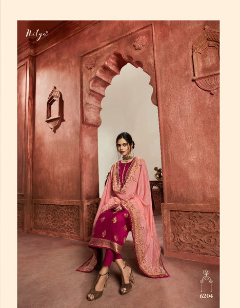 Maroon Dola Meenakari jacquard Khatli Worked Straight Cut Suit