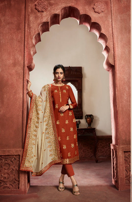 Brown Dola Meenakari jacquard Khatli Worked Straight Cut Suit