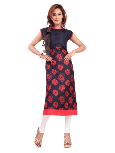 Beautiful Designer Blue and Red Color Cotton Kurti