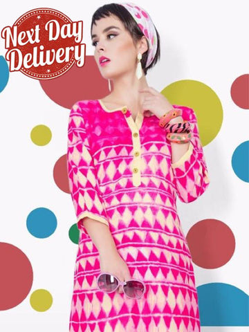 Hot Pink and Beige Rayon Kurti