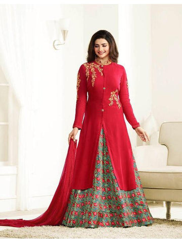 Designer Red Embroidered Long Anarkali Suit