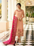 Prachi Desai Designer Peach Color Embroidered Long Straight Cut Silk Suit With Heavy Dupatta