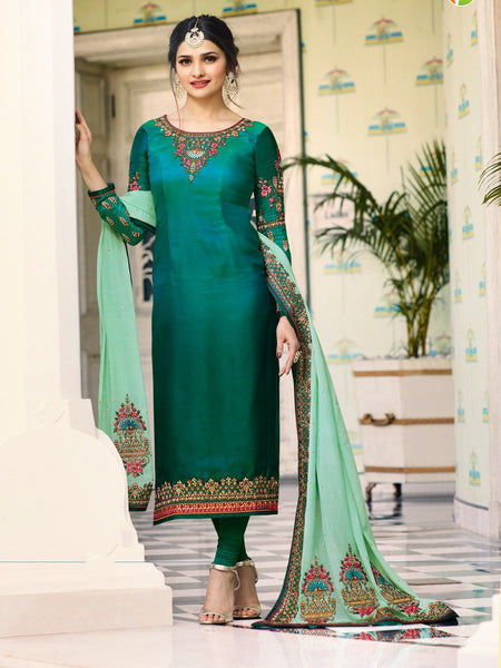 Prachi Desai Designer Green Color Embroidered Long Straight Cut Silk Suit With Heavy Dupatta