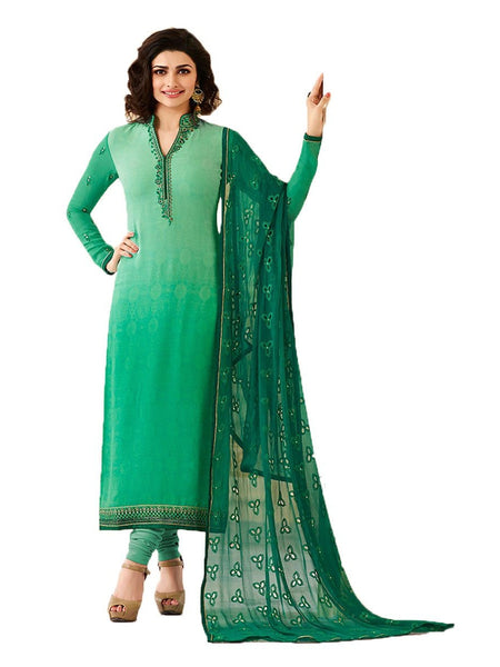 Designer Green Embroidered Long Straight Suit