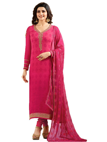 Designer Pink Embroidered Long Straight Suit