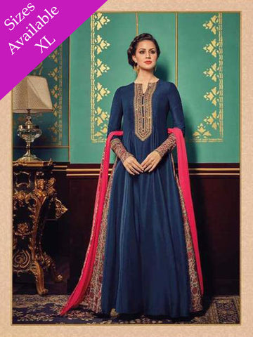 Designer Blue Embroidered Long Anarkali Suit With Heavy Dupatta