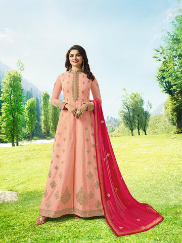 Prachi Desai Pink Designer Long Embroidered Anarkali Suit