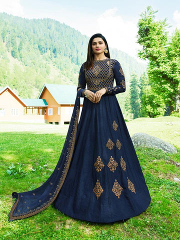 Prachi Desai Blue Designer Long Embroidered Anarkali Suit