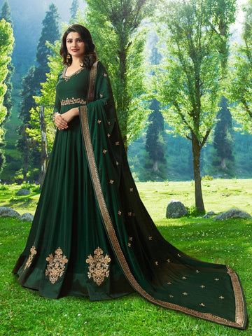 Prachi Desai Green Designer Long Embroidered Anarkali Suit