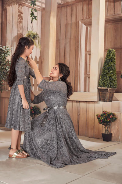 Grey Color Mother and Daughter Gown Combo