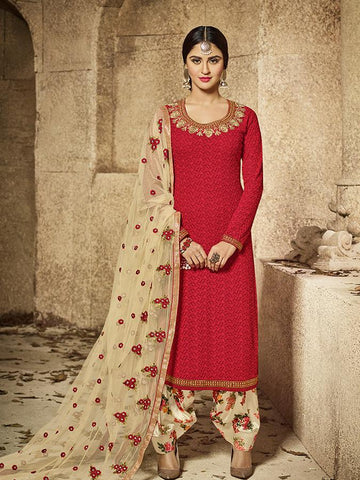 Bollywood Closet Red Color SEMI GEORGETTE Anarkali Suit