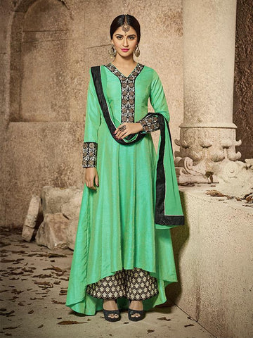 Bollywood Closet Green Color BANARASI SILK Anarkali Suit