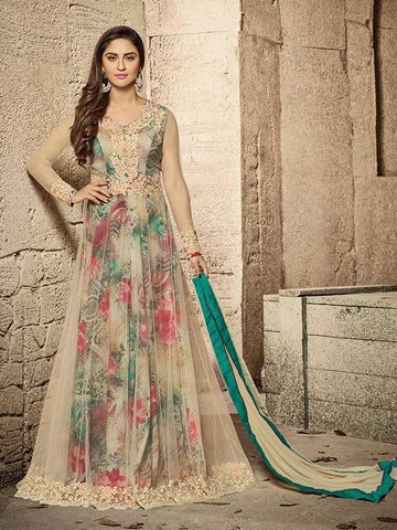 Bollywood Closet Multicolor Color DULL NET Anarkali Suit