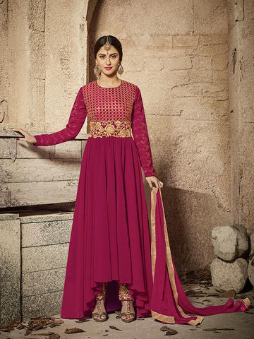 Bollywood Closet Wine Color FAUX GEORGETTE Anarkali Suit