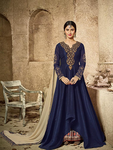 Bollywood Closet Blue Color malburry SILK Anarkali Suit