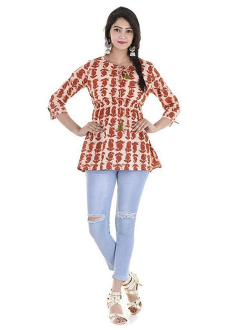 Beautiful Designer Maroon Color Printed Cotton Kurti Top