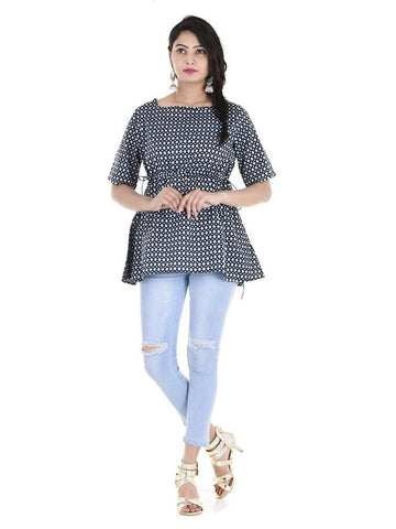 Beautiful Designer Black Color Printed Cotton Kurti Top