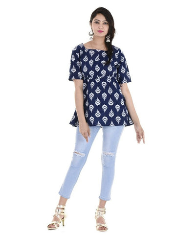 Beautiful Designer Blue Color Printed Cotton Kurti Top
