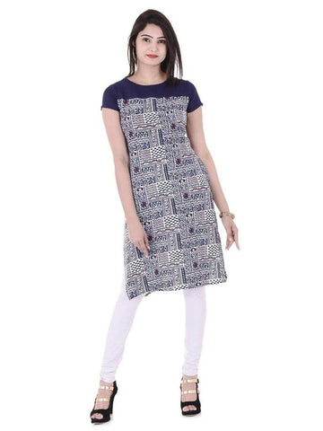Beautiful Designer Blue Color Printed Cotton Kurti