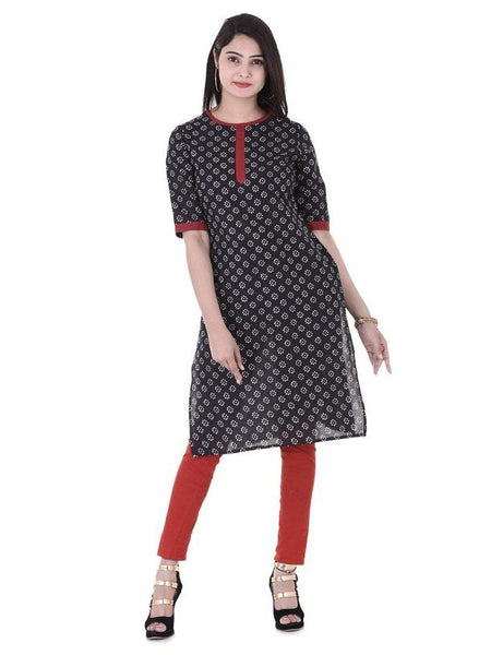 Beautiful Designer Black Color Printed Cotton Kurti