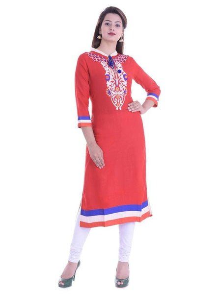 Beautiful Designer Red Color Rayon Printed Embroidered Kurti