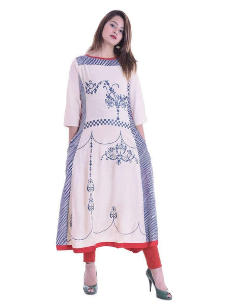 Beautiful Designer Off White Color Rayon Printed Embroidered Kurti