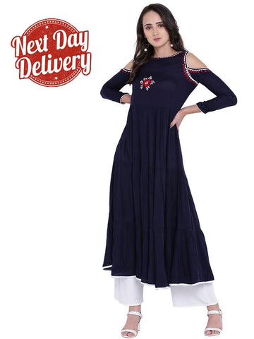 Designer Blue Embroiderd Cold Sholder Long Kurti