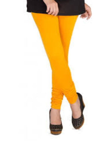 Dark Yellow Cotton Lycra Leggings - PurpleTulsi.com