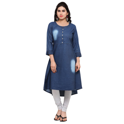 Beautiful Blue Cotton Denim Anarkali Kurti