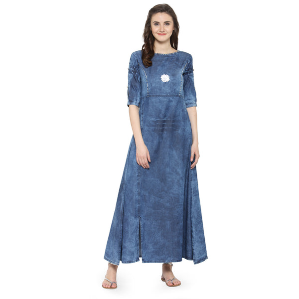 Beautiful Sky Blue Cotton Denim Dress