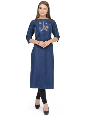 Beautiful Blue Cotton Denim Straight Cut Kurti