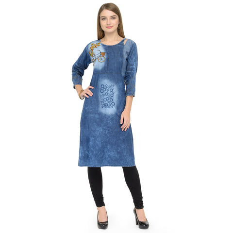 Beautiful Sky Blue Cotton Denim Straight Cut Kurti