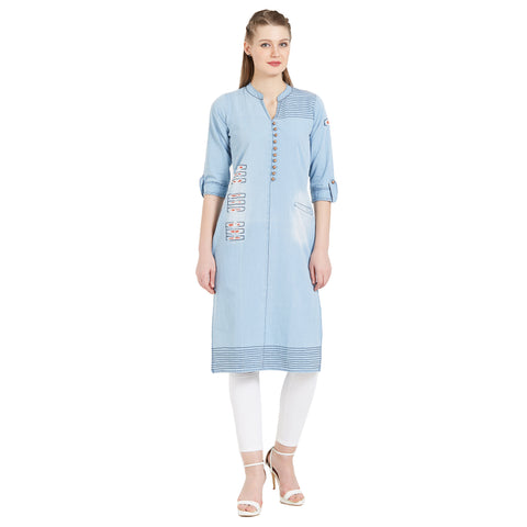 Beautiful Light Sky Blue Denim Straight Cut Kurti
