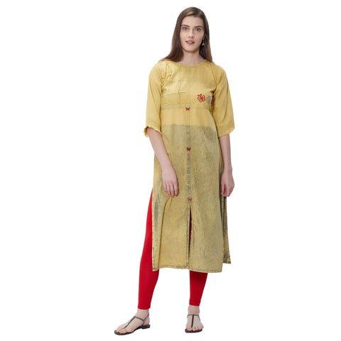 Beautiful Yellow Denim Straight Cut Kurti