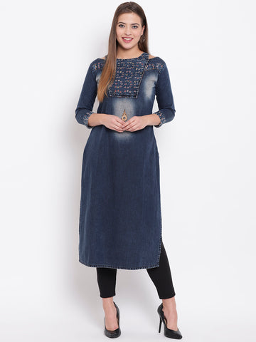 Beautiful Dark Blue Denim Straight Cut Kurti