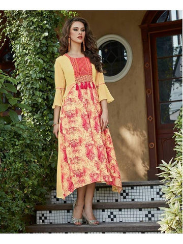 Beautiful designer Light Yellow Color Kurti