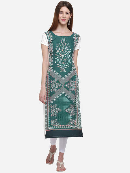 Green Color Crepe Digital Printed Straight Cut Kurti