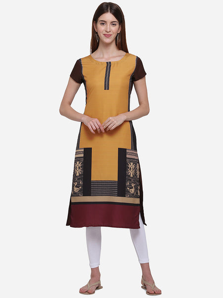 Orange and Brown Color Crepe Digital Printed Straight Cut Kurti