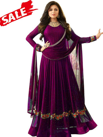 Designer Purple Color Embroidered Work Georgette Anarkali Suit