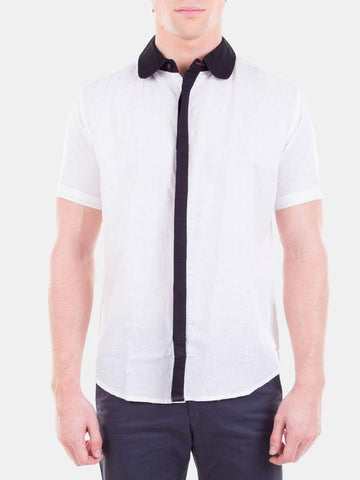 Solid Cotton Linen White Formal Shirt