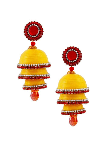 Pretty Yellow Handcrafted Triple Jhumka