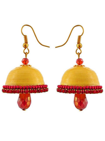 Halowishes Hancrafted Yellow Hook Jhumka